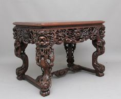 Early 19th Century Chinese Carved Centre Table - Antiques Atlas Antique Chinese Furniture, Oriental Furniture, Antique Photos, Chinese Antiques, Entryway Tables, 19th Century, Centre, Hardwood, Carving
