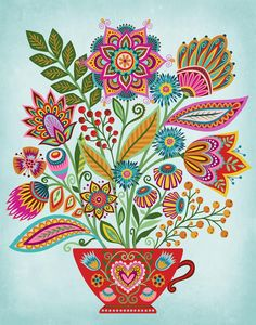16 Awesome Ideas for DIY Christmas Decorations Art and Craft Folk Art Flowers, Flower Art, Floral Flowers, Polish Folk Art, Scandinavian Folk Art, Folk Fashion, Indian Art, Art Inspo, Stencil