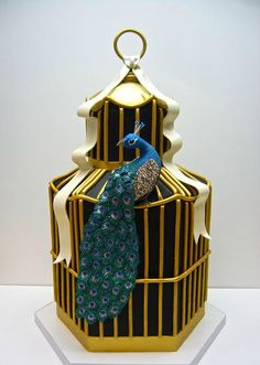 Gold birdcage and peacock wedding cake for Ashleigh B.
