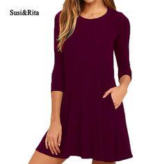 Susi&Rita 2017 Summer Dress Women Casual Half Sleeve Autumn Dress Ladies Party Dresses Vestidos Mujer #Affiliate