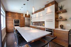 40 Stunning Modern Contemporary Kitchen Ideas - Popy Home Kitchen Dinning, New Kitchen, Kitchen Decor, Kitchen Ideas, Home Interior, Interior Design Kitchen, Mid Century Modern Kitchen, Kitchen Countertops, Townhouse