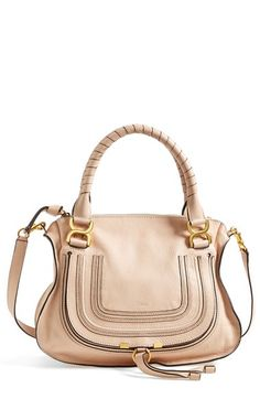 "Free shipping and returns on Chloé 'Medium Marcie' Leather Satchel at Nordstrom.com. <p><B STYLE=""COLOR:#990000"">Pre-order this style today! Add to Shopping Bag to view approximate ship date. You'll be charged only when your item ships.</b></p><br>Textured, curvy flap—branded by subtle embossing—secures the front pocket of a sophisticated satchel crafted from lightly pebbled calfskin and topped with wrapped handles and an optional strap."