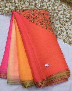 coral to omber pink saree with pitta work border..gold cut work unstitched blouse fabric. for more detail visit www.facebook.com/houseof2 Saree Gown, Satin Saree, Coral Saree, Pink Saree Blouse, Modern Saree, Sari Blouse Designs, Trendy Sarees, Elegant Saree, Cut Work
