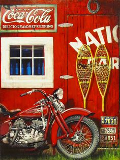 National Harley Davidson Acrylic on gallery-wrap canvas Vintage Cafe Racer, Vintage Bikes, Vintage Motorcycles, Harley Davidson Motorcycles, Man Cave Wall, Scrambler Custom, Wolf, Motorcycle Art, Bike Art