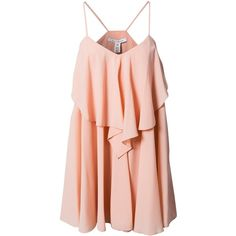 Nly Trend Frill Dress (230 GTQ) ❤ liked on Polyvore featuring dresses, vestidos, dusty pink, party dresses, womens-fashion, flounce dress, pink cocktail dress, ruffle cocktail dress, lined dress and flouncy dress