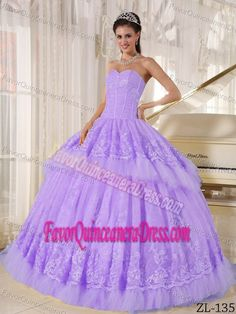 Cute Lavender Sweetheart Ball Gown Organza Dress for Sweet 16 with Appliques