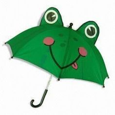 Girl's Automatic Umbrella with 190T Polyester Cloth and 3-D Frog Shape