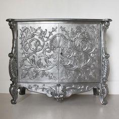 Silver Baroque Cupboard Carved Design (Sideboards & display cabinet)
