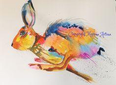 MORENA ARTINA Original contemporary PAINTING Large 14 x 11 Running Hare