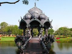 Fantasy Bridge and Pavilion in the Ancient City of Muang Boran in Thailand