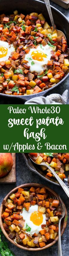 A quick and easy Paleo Sweet Potato hash with apples and bacon that's perfectly sweet and savory plus Whole30 friendly.