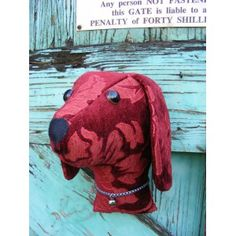 Faux taxidermy  fabric animal head,shabby chic, country house, Dog  trophy head. Rich red   fabric.