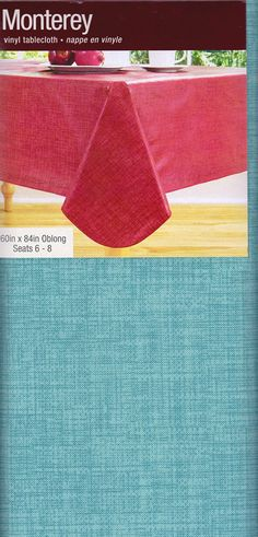 Monterey Vinyl Tablecloth  Teal  60x84 Amazon $20
