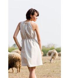 Renie Stripe Cotton Dress, Grey