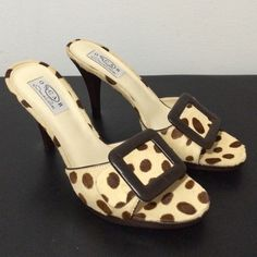 Oscar De la Renta Calf Polka Dot Mule Oscar by Oscar De la Renta Calf Hair polka dot Mule. Never worn just tried on. Extremely hard to find. Does not come in box. Feel free to ask any questions Oscar de la Renta Shoes Mules & Clogs