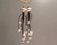 African Inspired Chandelier Earrings, Black and Silver Gemstone Jewelry, Ethiopian Beaded Earrings