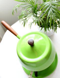 Vintage Lime Green Fondue Pot. via Etsy.