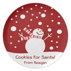 Cookies for Santa Holiday Snowman Party Plate