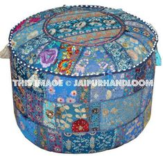 Pretty Indian Bohemian Pouf Ottoman Navy Blue Footstool Vintage Patchwork Living Room Ottoman pouf H Bean Bag Furniture, Bench Furniture, Funky Furniture, Furniture Plans, Ottoman Stool, Ottoman Cover, Ikea Pouf, Trippy Tapestry, Ottoman In Living Room