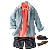 Stripes and coral are a cool combo for your little surfer. Top it off with denim for a local look.