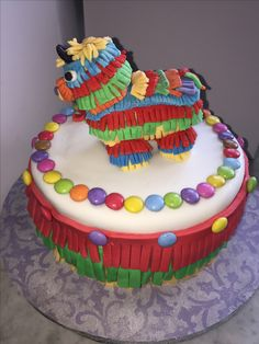 My granddaughter Asia's tenth birthday cake. Piñata cake filled with sweets. X