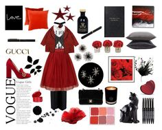 """""""Red is the new black"""" by rodaisabella on Polyvore featuring moda, McQ by Alexander McQueen, Joseph, Chanel, Wall Pops!, Uttermost, EB Florals, Gucci, Louis Vuitton e Daum"""