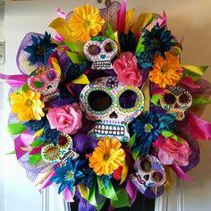 Colorful Summer Day of the Dead Sugar Skulls  Dia de los muertos Wreath by Johanna Nuno