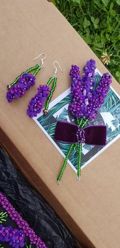 Lavender earrings and brooch - Handmade by Ozana on Facebook