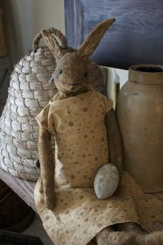 Primitive Rabbit with Bee Skep - Cinnamon Creek Dry Goods