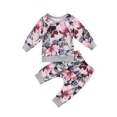 Toddler Baby Girls Floral Clothes set Newborn Coats T-shirt Tops Floral Pants Outfits Set Floral Pants Outfit, Outfit Sets, Floral Jumpsuit, Legging Outfits, Christmas Look, Baby Girl Pants, Baby Jeans, Kids Fashion, Kid Outfits