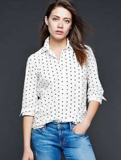Fitted boyfriend polka-dot shirt Product Image