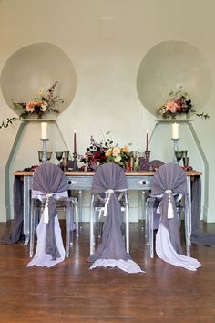 Purple wedding table with hand dyed cotton chair wraps in two tones. Art Inspires Life - Part 1 - McKenzie-Brown Photography Purple Wedding Tables, Purple Love, Bridal Looks, Weddingideas, Wraps, Wedding Inspiration, Table Decorations, Weddings, Chair