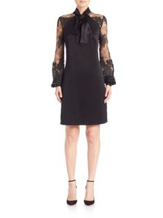 Kay Unger - Lace Sleeve Tie-Neck Dress