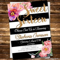 Black and White Striped Sweet 16 by DavidsPartyCreations on Etsy