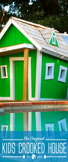 Give you kid a crooked playhouse to store all of their pool toys!