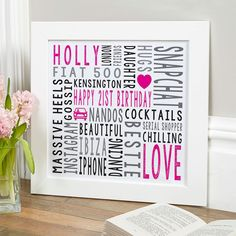 21st Birthday Gift For Her Personalised Square Word Art (magenta noir colour option). Beautiful Personalised Word Art Gifts to Commemorate a Landmark Birthday. Easy to Create, Preview on Screen Before You Buy & Fast Free Delivery. Create Now…