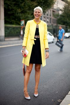 STREET STYLE SPRING 2013: MILAN FW - Elisa Nalin's bold yellow coat changes the effect of a sexy LBD.