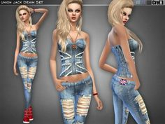 Union Jack Denim Set by Cre8Sims at TSR via Sims 4 Updates
