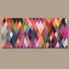 Geometric Wall Art Canvas Artwork Pottery Absract Diamond Shapes Colorful Office Decor Set of 3 Prints Bedroom Bedding Bathroom Three