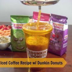 Iced Coffee Recipe at Home with Dunkin Donuts.  Easy to make, and oh so tasty!