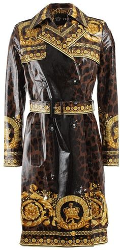 c63bd55468 VERSACE Printed Belted Trench Coat with an animal print background - Lyst  Versace Coat