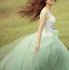 Modern Romantic Princess Mint Green Mesh Tulle Full Skirt