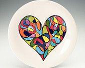 Retro Mod Heart Plate Hand Painted Color Block Modern Art Dinnerware