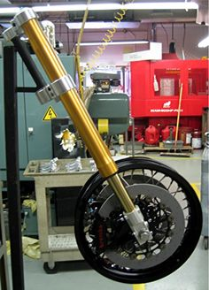A rake and trail jig for fork components Motorcycle Wheels, Motorcycle Parts, Bmw Cafe Racer, Bike Parts, Brake Calipers, Sport Bikes, Harley Davidson, Engineering, Bicycle