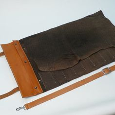 Knife Roll Hand Stitched Bison Leather 11 by garnydesigns