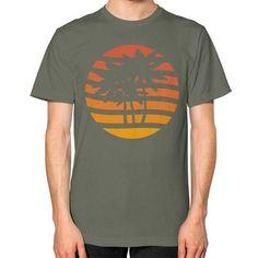 Palm Trees Grunge Sunset Unisex T-Shirt (on man)