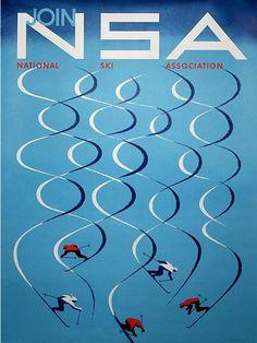 Poster by Herbert Bayer (1900-1985), 1957, Join National Ski Association.