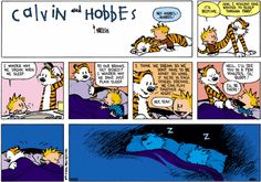 my favorite quote from calvin and hobbes. @Rae Volinsky it took him a while. He was just late to work. But he made it now, so it's all good :)