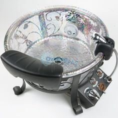Shop here to learn more details about the luxurious J&A Lenox GS Glass Pedicure Spa Bowl that features whirlpool and efficient sanitation of the pedicure equipment. This foot bath is produced by J&A, one of the best manufacturers in the spa industry. Home Nail Salon, Nail Salon Design, Nail Salon Decor, Beauty Salon Decor, Beauty Salon Design, Salons Decor, Salon Decorating, Beauty Salons, Decorating Ideas