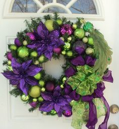 Peacock Purple Lime Green Christmas Wreath Home Decor Purple Poinsettia